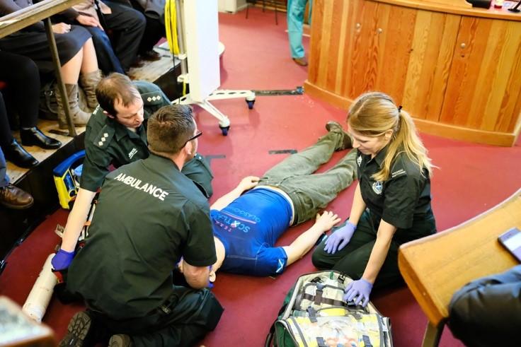 Paramedics working on dummy